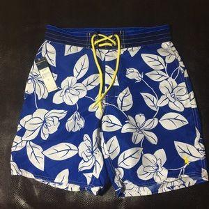 Polo Ralph Lauren Mens Blue Flower Swim Trunks